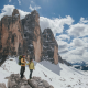 mountains, cliff, peak, winter, snow, couple, clouds, nature wallpaper