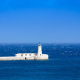 mediterranean sea, lighthouse, sea, horizon, blue sky, waves, nature wallpaper