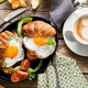 food, tomato, coffee, scrambled eggs, cup, spoon, breakfast wallpaper