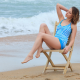 women outdoors, women, chair, model, beach, sea, ocean, waves wallpaper