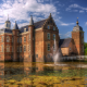 netherlands, castle, pond, fountain, huize ruurlo, city wallpaper