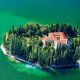 lake, island, castle, tree, forest, croatia, nature wallpaper
