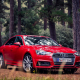 audi a4 sedan, cars, red audi, audi a4, audi, forest wallpaper