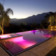 california luxury homes, night, pool, mountains, nature wallpaper