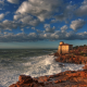livorno castle, italy, sea, shore, hdr, city, boccale castle livorno, clouds wallpaper