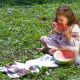 girl, nature, ukrainian, baby, berry, watermelon, delicious, food wallpaper
