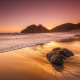 beach, ocean, california, landscape, dawn, sunset, nature wallpaper