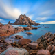 rocks, shore, sea, coast, nature wallpaper