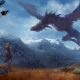 fantasy, art, girl, dragon, eyes, wings, mountains wallpaper