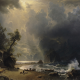 albert bierstadt, shore, mountains, dark clouds, boat, waves wallpaper