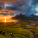 denmark, famjin, faroe islands, ocean, sea, coast, mountains, fields, houses, nature wallpaper