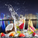 cocktail, fruits, coconut, lemon, splash, glass, city wallpaper