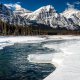 jasper national park, alberta, canada, mountains, winter, landscape, snow, nature, river wallpaper