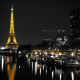 france, eiffel tower, river, pier, paris, tower, night, lights, city, buildings wallpaper