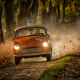 police car, autumn, leaves, leaf, retro cars, speed wallpaper