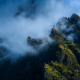 mountains, clouds, fog, stone town, scenery, nature wallpaper