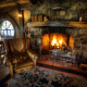 hobbiton, interior, armchair, fireplace, home, fire, house wallpaper