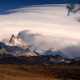 fitz roy, patagonia, mountains, valley, snow peaks, clouds, nature wallpaper