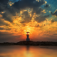 khao lak, thailand, sunrise, sun, lighthouse, calm, sea, nature wallpaper