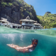 el nido, palawan, philippines, resort, tropical, underwater, paradise, villa, underwater, bikini, women, nature, snorkeling wallpaper