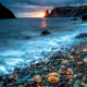 fiolent, crimea, jasper beach, rocky beach, sea, black sea, sunset, nature wallpaper
