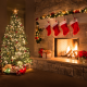 christmas, holidays, fireplace, new year, christmas tree, comfort wallpaper