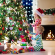 children, tree, holiday, christmas, new year, kids, baby, fireplace wallpaper