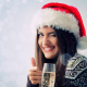 christmas, new year, smile, champagne, glass, holidays, girl, women, brunette wallpaper
