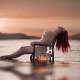 girl, chair, water, sitting, redhead, sunset, women wallpaper