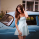 girl, summer dress, women, brunette, retro car wallpaper