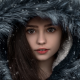 girl, portrait, fur, coat, hood, brunette, women, face wallpaper