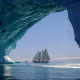 iceberg, ice, ship, sailboat, yacht wallpaper