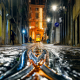 portugal, lisbon, rain, night, tram, city wallpaper