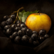 still life, grapes, apple, food, fruits wallpaper