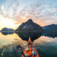kayak, norway, photo, mountains, extreme, holiday, reflection, nature wallpaper