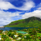 french polynesia, mountains, ship, resort, cruise ship wallpaper