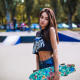skateboard, jean shorts, outdoors, belly, brunette, women wallpaper