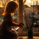 girl, window, flower, light, lily, child wallpaper