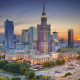palace of culture and science, warsaw, poland, sunset, city, skyscrapers wallpaper