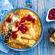 pancakes, banana, jam, food, fork wallpaper