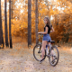 women, bicycle, tree, forest, jean shorts, outdoors, sneakers wallpaper