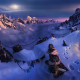 Nepal, Himalayas, nature, landscape, mountain, snow, summit, moonlight, sky, flag, winter, cold wallpaper