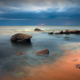 sea, sky, stones, beach, shore, horizon, dark clouds, nature wallpaper