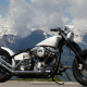 chopper, custom, bike, mountains, clouds wallpaper