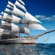 sailboat, sea, ocean, ship, sail, 3d graphics wallpaper