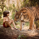 forest, log, child, boy, mowgli, animals, tiger wallpaper