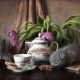 flowers, tulips, animals, kittens, cup, cookies, cinnamon, cat wallpaper