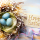 holidays, easter, nest, eggs, feathers, ribbons, braid, greeting wallpaper