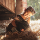 child, boy, cap, animals, rabbit, friends, straw, bokeh wallpaper