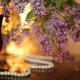 glass, drink, necklace, pearl, lilac, bokeh, lilac, flowers wallpaper
